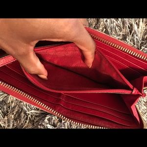 Red genuine leather Michael Kors wallet